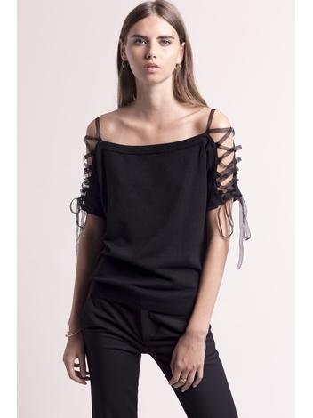 - Top en maille fine noir à lacets sur les épaules - Manches