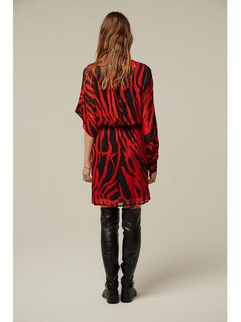 - Robe asymétrique imprimée zèbre rouge et noir - 1 Manche