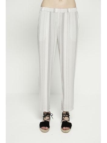 - Pantalon fluide ecru à pois rouge et noir - Taille
