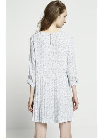 - Robe imprimée ciel courte et ample - manches 3/4 - Col