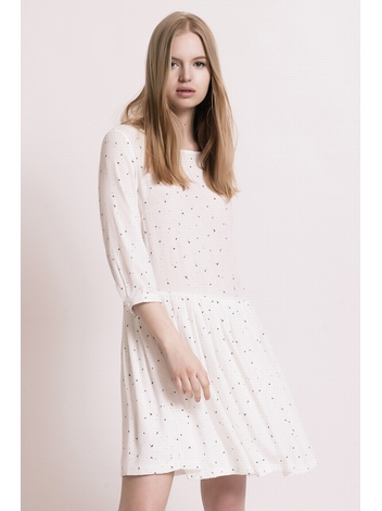 - Robe imprimée blanc courte et ample - manches 3/4 - Col
