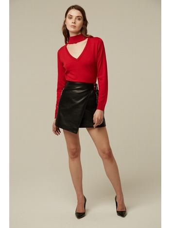 - Mini jupe porte feuille en simicuir noir - boucle de