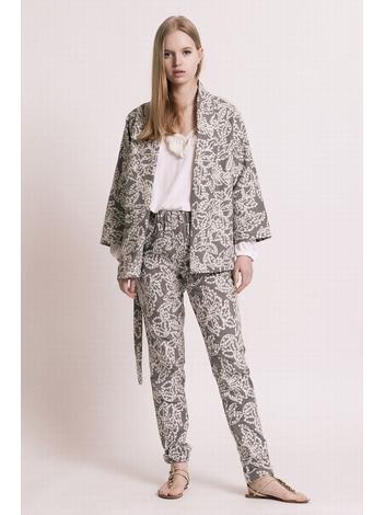 - MADE IN FRANCE - Veste kimono en jacquard imprimé rayures