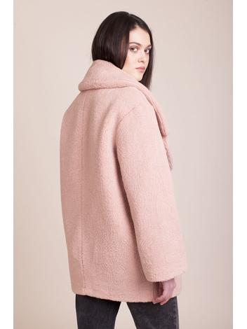 - Manteau rose col à revers double boutonnage - Fausse