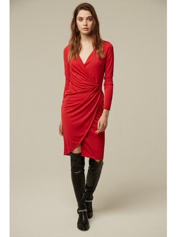 - Robe drapée et croisée en jersey rouge - Décolleté