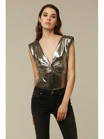 - Body métallique argent sans manche à épaulettes - nœud