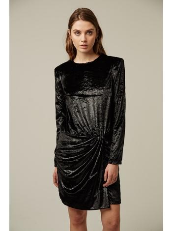 - Robe drapée en velours effet brillant - Col rond - Manches