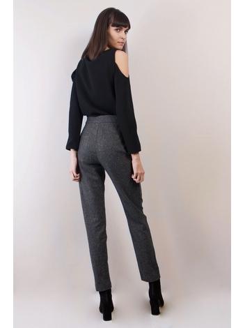 - Pantalon cigarette en tweed chiné - Poches latérales -