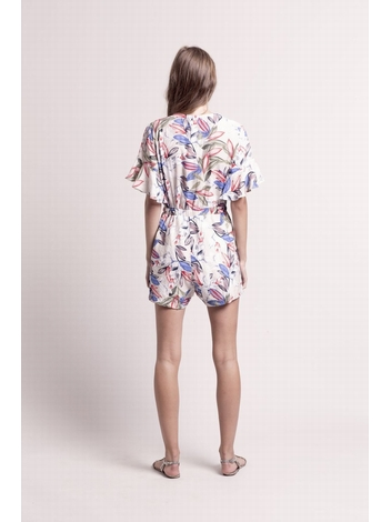 - Combi-short imprimé fleurs multicolore - Manches courtes à