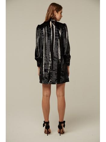 - Robe en velours à bandes effet brillant - Col montant -