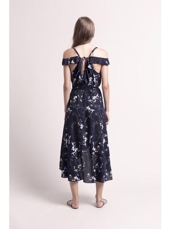 - Robe portefeuille asymétrique à volants imprimé marine -