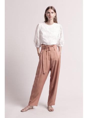 - Pantalon fluide à pinces en tencel - Taille haute -