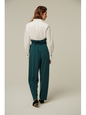 - Pantalon fluide à pinces - Taille haute - Passants à la