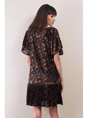 - Robe courte à fleurs en velours dévoré - Manches papillons