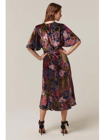 - Robe porte feuille en velours dévoré multicolore - Manches