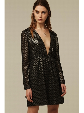 - Robe chasuble imprimé chevron effet métallique argenté -