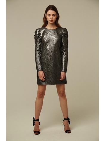 - Robe courte en jacquard métallique argenté - Manches