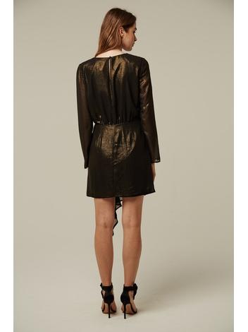 - Robe noir effet doré - froncé à la taille - Manches longue