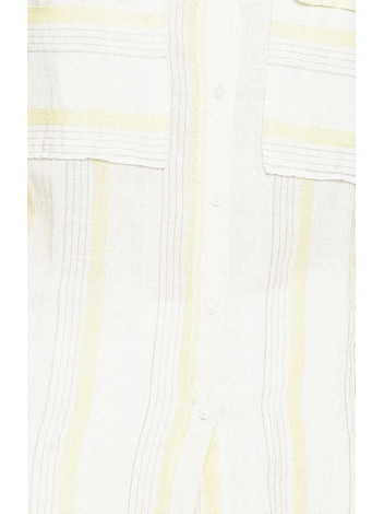 - Chemise blanche à rayures jaune - Encolure V. - Coupe