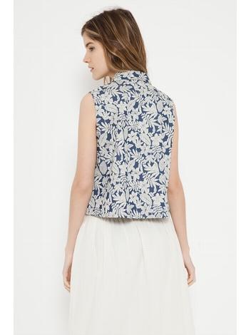 - Chemise courte sans manche imprimé fleurs - Couleur bleu