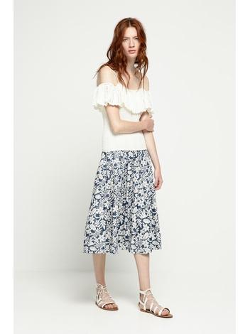 - Jupe mi-longue plissée à fleurs couleur jean - Taille