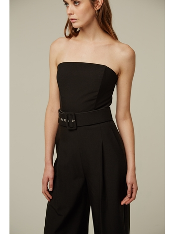 - Combinaison bustier noir - Pantalon larche - Ceinture