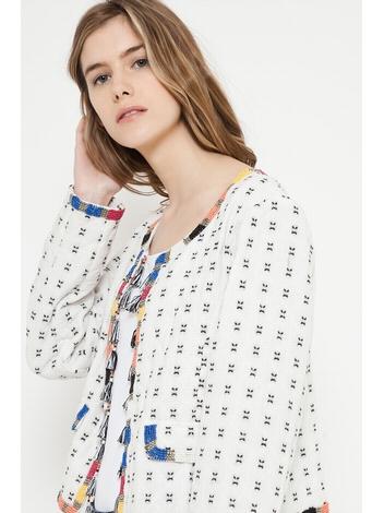 - Veste à pompons frangés multicolores - Sans fermeture -