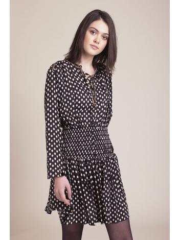 - Robe courte manches longues noir imprimé  - Col tunisien