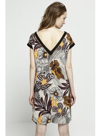 - Robe courte droite imprimé africain - Manches courtes -
