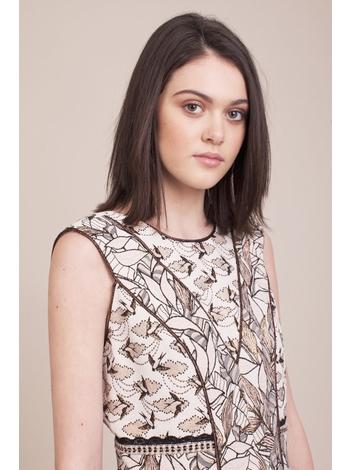 - Robe sans manche en jacquard avec motif d'oiseaux et une