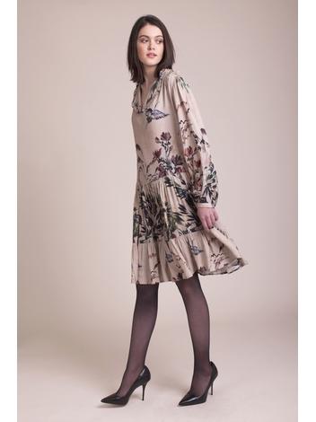 - Robe courte à motifs fleuris - Col à volant - manches