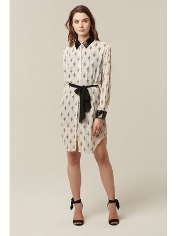 - Robe chemise imprimé ecru - Col et poignets à paillettes