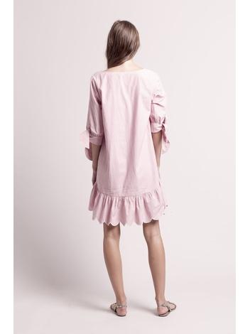 - Robe courte à rayures rouge + broderie et motifs écru -