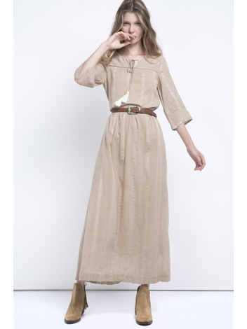 - Robe longue brodée et ajourée - Col rond avec Liens
