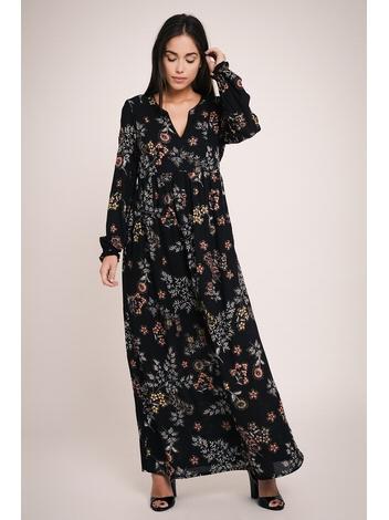 - Robe longue noir imprimé fleurs multicolore - Col tunisien