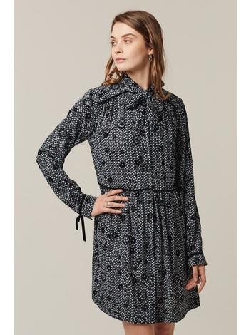 - Robe chemise ample imprimé noir et blanc à motifs imprimé