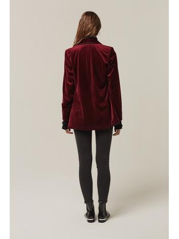 - Veste en velours bordeaux - Manches longues - 100%