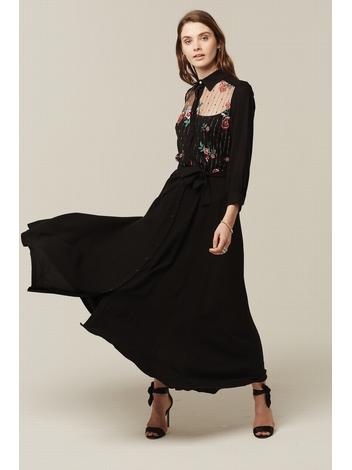 - Robe chemise longue noir - Haut en tulle broderie fleurs -