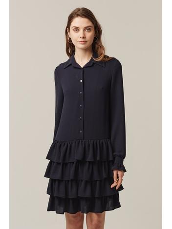 - Robe chemise marine bas à volants - Manches longues - 100%