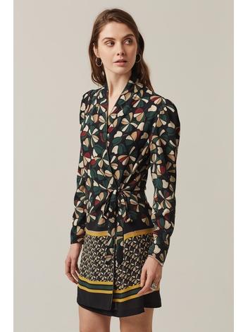 - Robe porte-feuille imprimé vert - Col blazer - Doublure