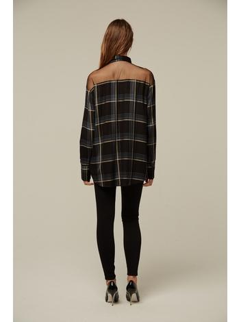 - Chemise à carreaux noir et bleu - empiècement tulle brodé