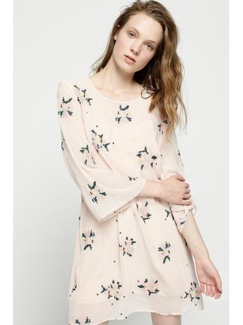 - Robe courte et ample brodée rose poudré - Col rond -