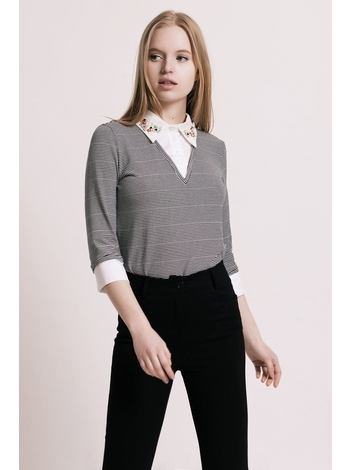 - MADE IN FRANCE - Pull doux et fin avec col chemise perlé -