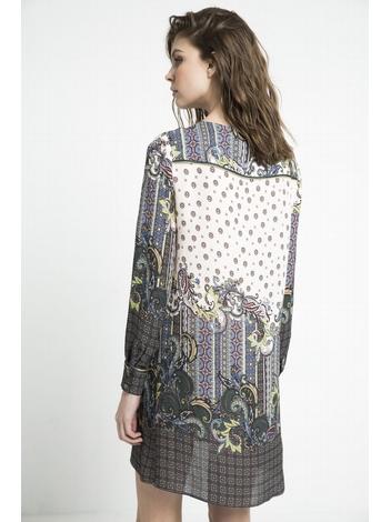 - Robe imprimée - Motifs placés avec plastron - Coupe ample
