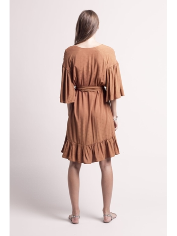 - MADE IN FRANCE - Robe courte choco col tunisien - encolure