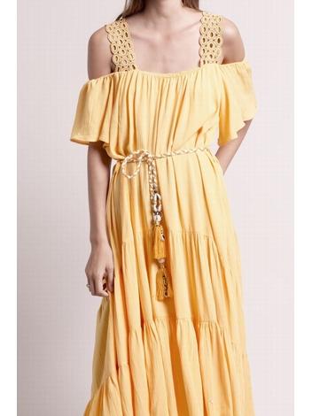 - MADE IN FRANCE - Robe longue jaunes épaules dénudées -
