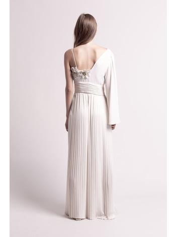 - MADE IN FRANCE - Robe de soirée plissée longue à une