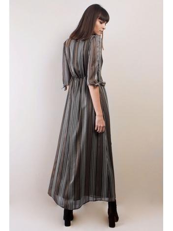 - Robe longue à rayures effet métallique - Col V. avec