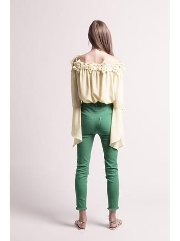 - MADE IN FRANCE - Top en plumetis jaune épaules dénudées et