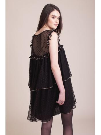 - Robe noir en tulle à volants avec empiècement de galons